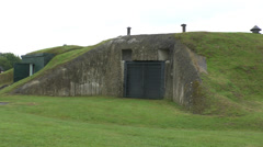 Gun casement in the Merville Battery, Lower Normandy, France. Stock Footage