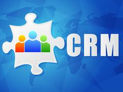 crm and puzzle piece with person signs, flat design - stock illustration