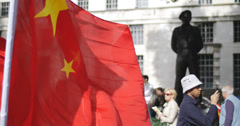 Chinese flag protest at Downing st 4K Stock Footage