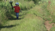 Stock Video Footage of Lovely little boy walking on rustic path hold big flowers bouquet, innocent gift