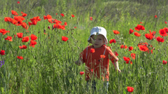 Cute little boy play in red poppies field in bloom,  jump and dance Stock Footage