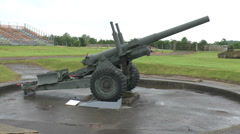 Artillery piece in a gun emplacement, Merville Battery, Lower Normandy, France. Stock Footage