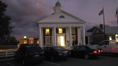 Historic small town courthouse exterior evening Stock Footage
