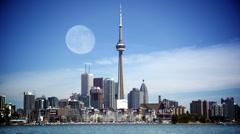 4K Full Moon over Toronto Skyline Stock Footage