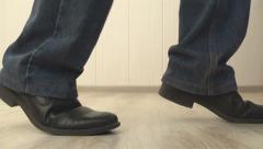 man walking on tiptoe - stock footage
