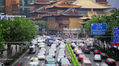 Timelapse of rush hour traffic in Jingan District , Shanghai, China - stock footage