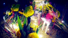 Visakha Bucha offerings in Thai Buddhist Temple. Stock Footage