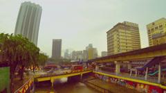Rainy day retro look time lapse, Pasar Seni, Kuala Lumpur. Stock Footage