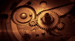 4K macro shot of steampunk clock gears with animated CG elements. - stock footage