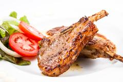 grilled lamb chops  with vegetables - stock photo