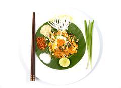 Thai food pad thai , stir fry noodles with shrimp Stock Photos