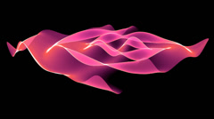 4k Abstract pink light curve,satin ribbon&soft silk veils,flowing digital wave. Stock Footage