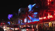 Stock Video Footage of Miami South Beach Ocean Drive at night