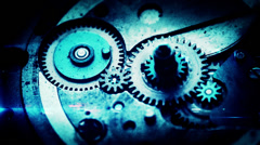 4K macro shot of clock gears with CG elements. Stock Footage