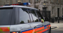 Police car just outside Downing St 4K Stock Footage