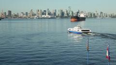 Vancouver Seabus, Crossing Burrard Inlet Stock Footage
