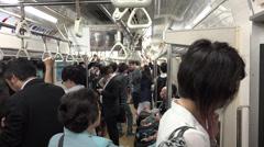 Standing inside tokyo metro car Stock Footage