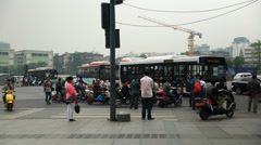 Busy street in chengdu china Stock Footage