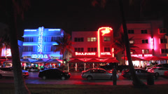Miami South Beach Ocean Drive at night - stock footage