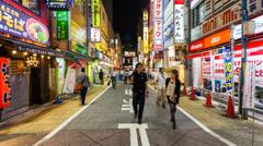 1080 - PEOPLE IN SHINJUKU, TOKYO - HYPERLAPSE Stock Footage
