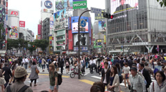 Shibuya's famous crosswalk in downtown Tokyo Stock Footage
