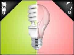 Energy saving light bulb in infographic Stock Illustration