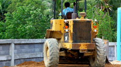 Earthmover dozer doing earthmoving works outdoors. Video - stock footage