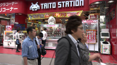 Taito arcade game store in Akihabara, Tokyo Stock Footage