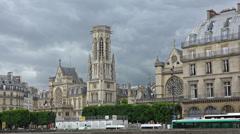France, Paris, clouds over basilica Saint Germain l'Auxerrois. Stock Footage