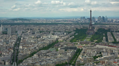 France, Paris skyline and Eiffel tower, panning left to right. Stock Footage