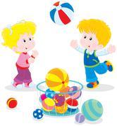 Girl and boy playing a big colorful ball - stock illustration