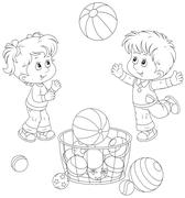 Girl and boy playing a big ball Stock Illustration