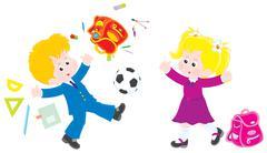 Schoolchildren on vacation - stock illustration