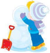 Child makes a snowman Stock Illustration