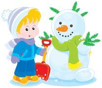 Child and snowman Stock Illustration