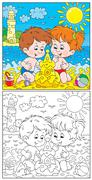 Children at a beach - stock illustration