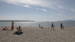 People at the Beach English Bay Stock Footage