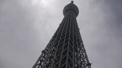 At the foot of Tokyo's Skytree tower Stock Footage