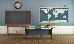 Stock Illustration of retro classroom without student
