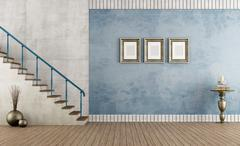 blue vintage room with staircase - stock illustration