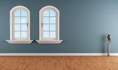blue room with two arched windows - stock illustration