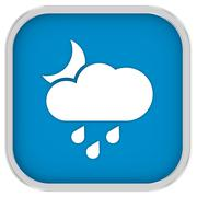 cloudy at night with small amount of rain sign - stock photo