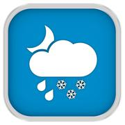 cloudy at night with considerable amount of rain and snow sign - stock photo