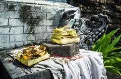 Hindu offering in pura batu bolong temple, south of senggigi, lombok, indones Kuvituskuvat