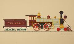Eight wheeled locomotive Stock Illustration