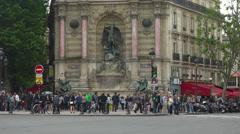 France, Paris, fountain Saint Michel. Stock Footage