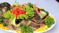 Gefilte fish.Dish of stuffed fish. Stock Footage