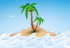 Paper tropical island with palm tree Piirros