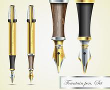 Realistic vector fountain pen icons Stock Illustration