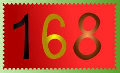 Postage stamp with 168 number Stock Illustration